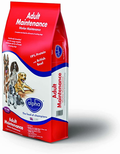 Alpha Adult Worker Maintenance Complete Dry Dog Food British Beef, 15 kg