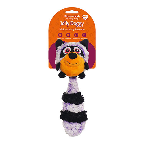 Rosewood Jolly Doggy Squeak Switch Raccoon Toy