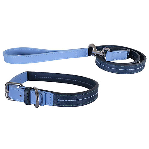 Rosewood Luxury Leather Dog Lead - Baby Blue/Navy