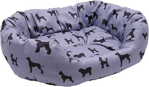 Rosewood Oval Dog Print Dog Bed - Large