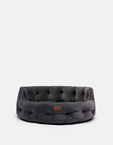 Joules Velvet Chesterfield Dog Bed Grey - Small