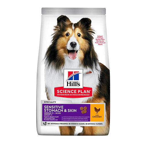 Hills Science Plan Adult Dog Sensitive Medium Dry Chicken 14kg