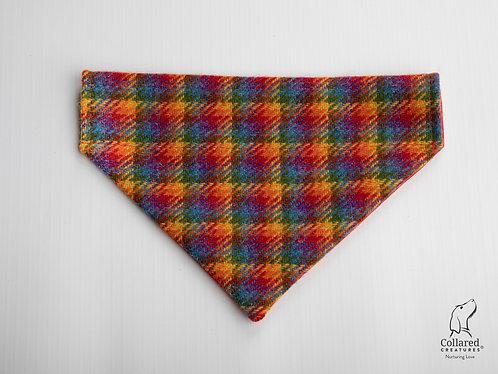 Collared Creatures Rainbow Check Luxury Harris Tweed Dog Bandana