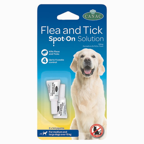 Beaphar CANAC Flea and Tick Spot-On Solution for Dogs - 2 pipette