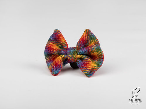Collared Creatures Rainbow Check Luxury Harris Tweed Dog Bow Tie