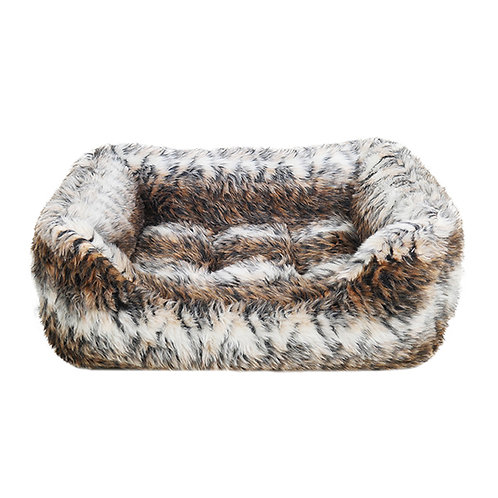 Rosewood Brown Cosy Fur Print Square Bed - Small