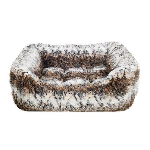 Rosewood Brown Cosy Fur Print Square Bed - Medium