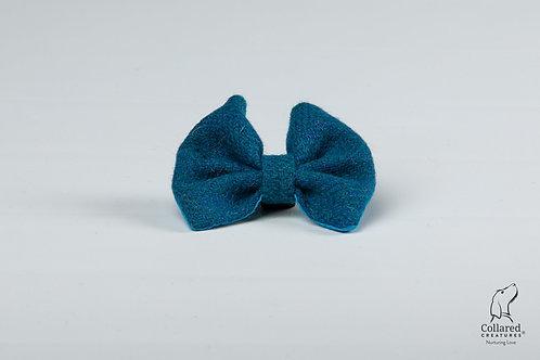 Collared Creatures Teal Herringbone Luxury Harris Tweed Dog Bow Tie