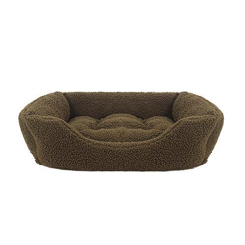 Rosewood Green Pile Fleece Square Bed - Medium