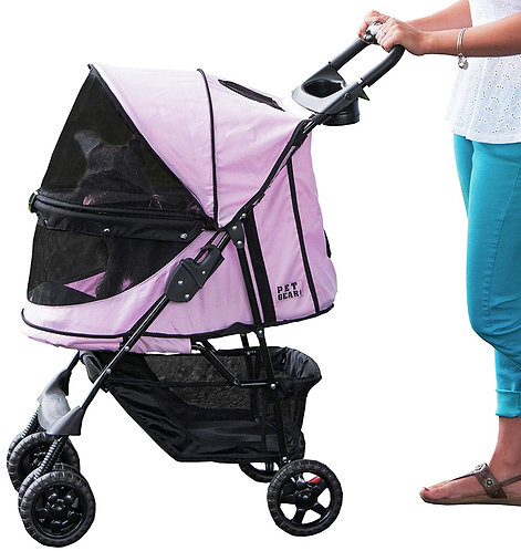 Pet Gear Happy Trails No-Zip Stroller, Pink Diamond