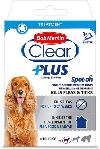 Bob Martin Clear Plus Spot-On Solution for Medium Dogs 3 Tubes