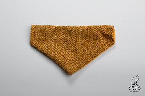 Collared Creatures Sunflower Herringbone Luxury Harris Tweed Dog Bandana