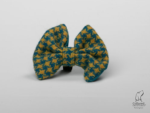 Collared Creatures Teal & Yellow Houndstooth Luxury Harris Tweed Dog Bow Tie