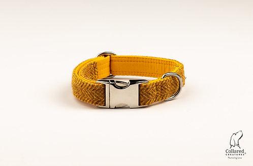 Collared Creatures Sunflower Herringbone Harris Tweed Dog Collar