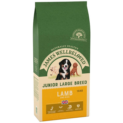 James Wellbeloved Complete Dry Junior Large Breed Dog Food Lamb and Rice, 15 kg