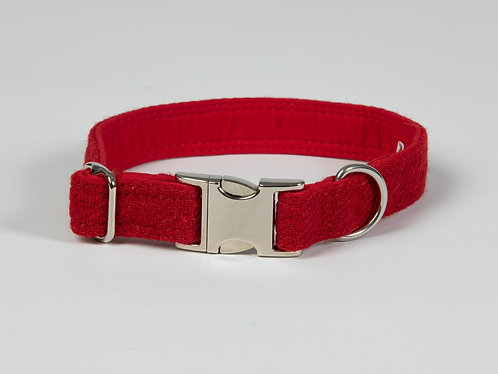 Collared Creatures Simply Red Luxury Harris Tweed Dog Collar