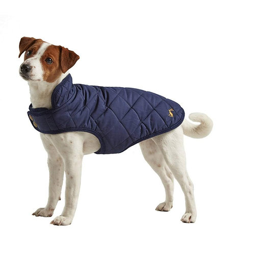 Joules Navy Quilted Dog Coat - Large