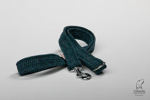 Collared Creatures Teal With a Touch of Blue Luxury Harris Tweed Dog Lead