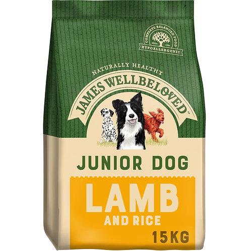 James Wellbeloved Complete Dry Junior Dog Food Lamb and Rice, 15 kg