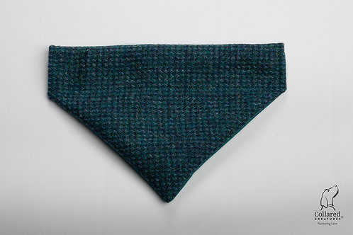 Collared Creatures Teal With a Touch of Blue Luxury Harris Tweed Dog Bandana