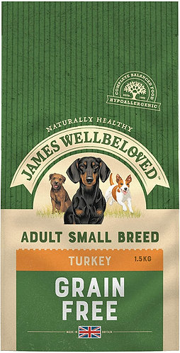 James Wellbeloved Dog Food Turkey & Veg Adult Small Breed Grain Free (1.5kg)