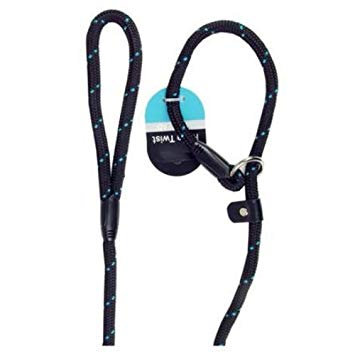 Rosewood Rope Twist Slip Lead, Black/Blue