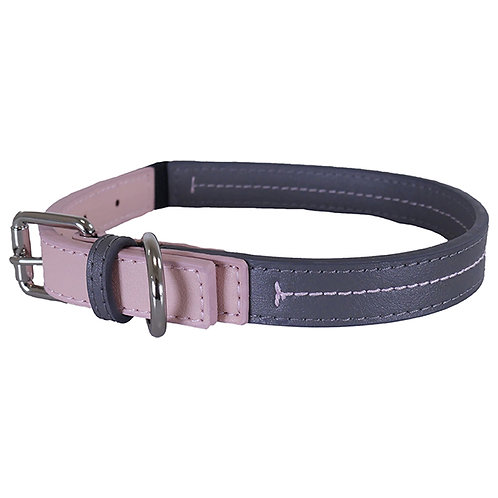 Rosewood Luxury Leather Dog Collar - Baby Pink/Grey