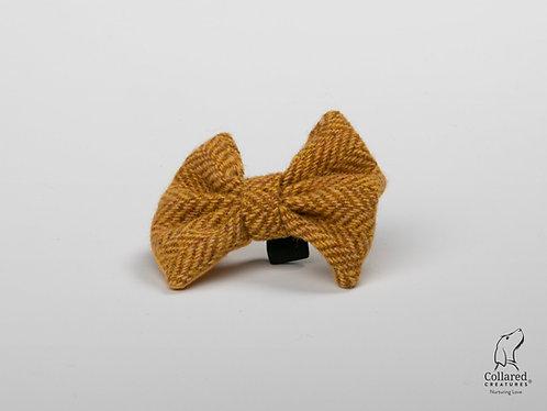 Collared Creatures Sunflower Herringbone Luxury Harris Tweed Dog Bow Tie