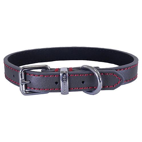 Rosewood Luxury Leather Dog Collar - Grey
