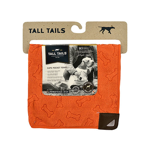 Tall Tails Orange Pet Cape Towel - Medium