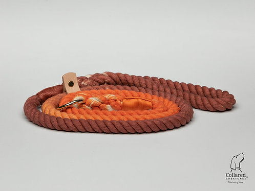 Collared Creatures Orange and Brown Ombre Dip Dyed Dog lead