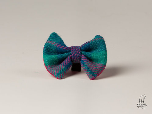 Collared Creatures Emerald Green & Pink Check Luxury Harris Tweed Dog Bow Tie