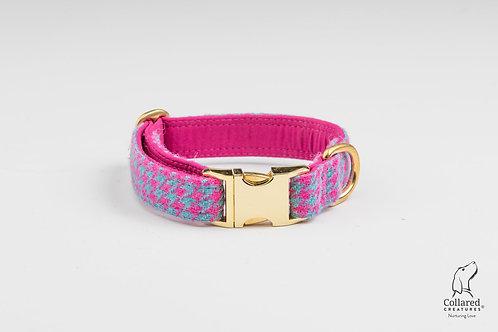 Collared Creatures Turqouise & Pink Houndstooth Harris Tweed Luxury Dog Collar
