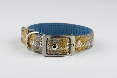 Collared Creatures Mustard & Blue Check Luxury Harris Tweed Dog Collar
