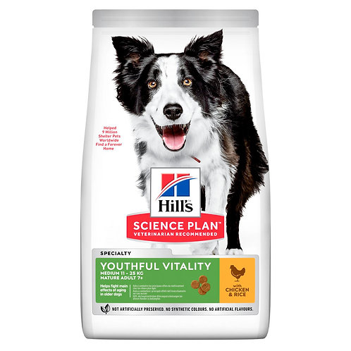 Hills Science Plan 7+ Dog Youthful Vitality Medium Dog Dry Chicken 2.5kg