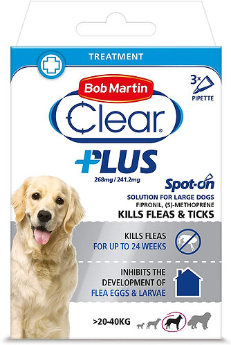 Bob Martin Clear Plus Spot-On Solution for Large Dogs 3 Tubes