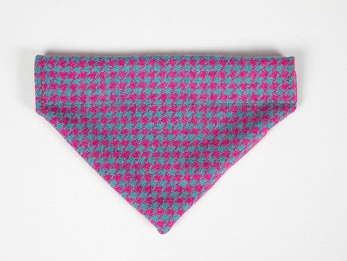 Collared Creatures Turquoise & Pink Houndstooth Luxury Harris Tweed Dog Bandana