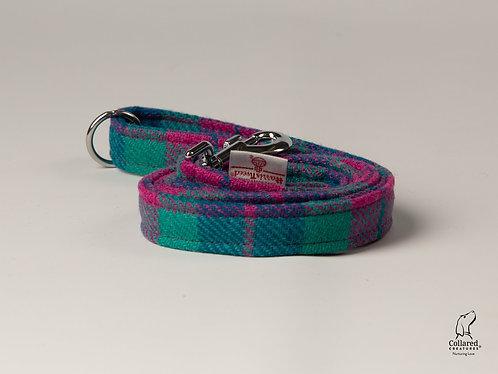 Collared Creatures Emerald Green & Pink Check Luxury Harris Tweed Dog Lead
