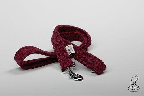 Collared Creatures Raspberry & Coral Herringbone Luxury Harris Tweed Dog Lead