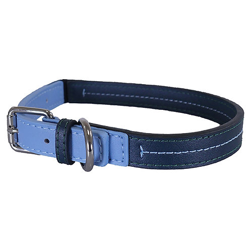 Rosewood Luxury Leather Dog Collar - Baby Blue/Navy