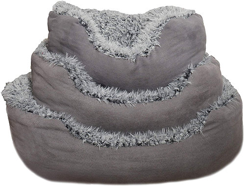 Rosewood Oval Grey Lion Faux Suede Dog Bed - Medium