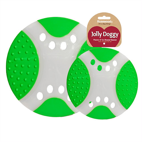 Rosewood Jolly Doggy Throw 'N' Go Dental Saucer Toy