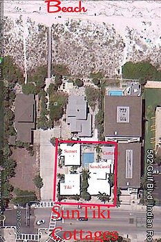 Google aerial photo of SunTiki Cottages
