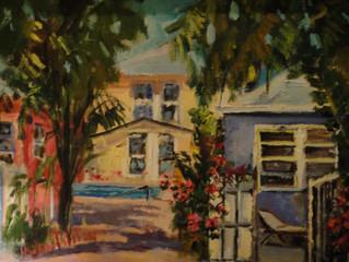 Pleinaire cottage artist rendition of SunTiki Cottages 2014!