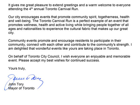 2019 Toronto Carnival Run - Letters of Greeting from Mayor, Premier and Prime Minister