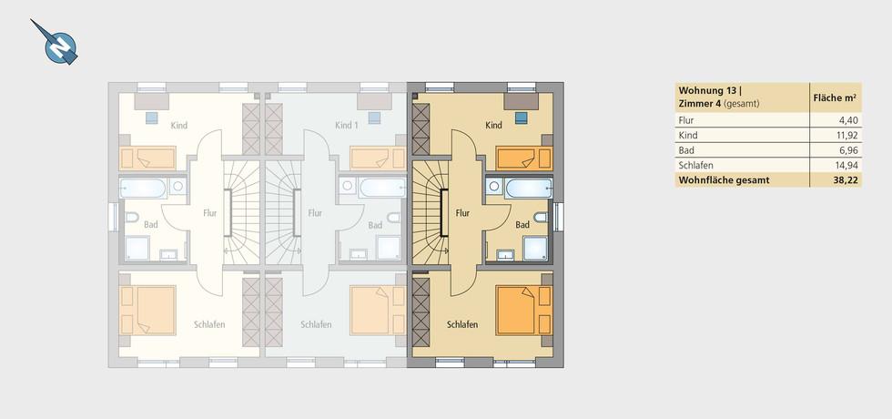 Wohnung 13   Obergeschoss