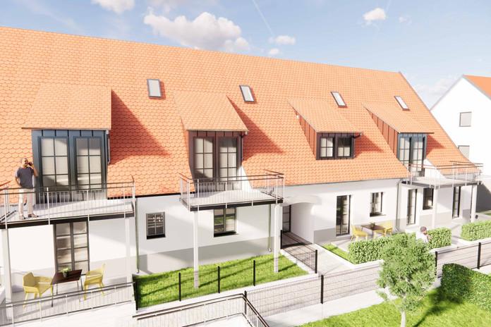 Sonnige Balkone oder Terrassen mit eigenen Gärten