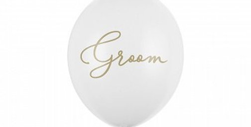 Balloons 30cm, Groom, Pastel Pure White  Strong Balloons, Pastel Pure White with