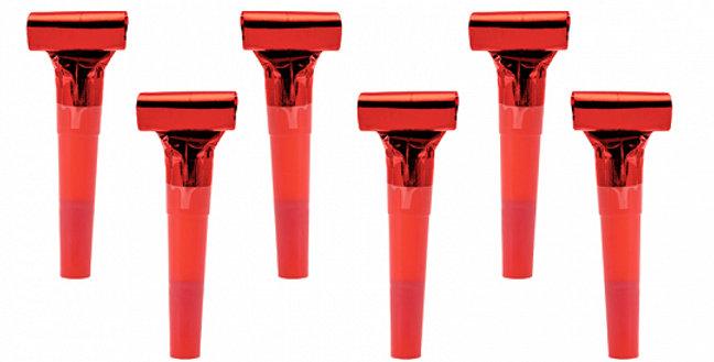 Whistles, red/ gold 6pk
