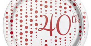 40th Ruby Sparkle & Shine Wedding Anniversary Plates - 17cm (8pk)